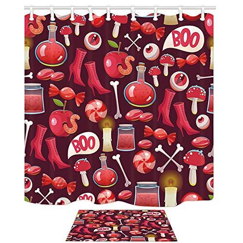 Aliyz 3D Digitaldruck Halloween Duschvorhang Scary Spider Candy Hexen Stiefel für Festival Stoff Bad Vorhänge Haken Enthalten 71X71 Zoll Rot mit Bad Teppichen 15,7x23,6 Zoll