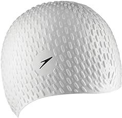 Speedo Bubble swimming Cap, Senior (White)