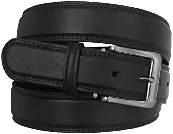 "Men's Stylish Plain Leather Trouser Belt: Made by Forest Belt Co : Black : Brown : Up To 56"" Waist"
