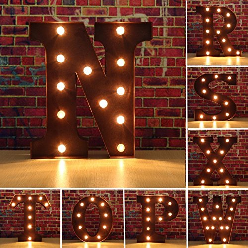 SOLMORE-2355CM-Lettre-LED-Lumineux-A-Z-Mtal-Alphabet-Lampe-Ampoule-Stickers-Muraux-Dcoration-coleHtelBarRestaurationChambre-EnfantSoireAnniversaireMariageFteNol-Chocolat