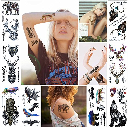 COKOHAPPY Raptor Destello Tatuaje - 27+ Diferente Designs - Falso Like Tatuaje - Águila Bear Tiger Búho Lobo Elefante Ciervo and More