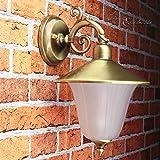 Außen Wandleuchte Messing Antik rostfrei Riffelglas Schirm Premium massive Wandlampe Außenleuchte Haus Balkon E14