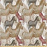 ABAKUHAUS Zebra Satin Stoff als Meterware, Künstlerische