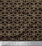 Soimoi Nero Jersey di Cotone Tessuto filigrana Damasco Tessuto Stampato da Metro 58 Pollici Larghi