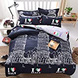 DOTBUY Bettbezug Set, 4 Teilig Bettwäsche 220 x 240cm 100% Polyester Mikrofaser Karikatur Gemütlich Printing Bettbezug-Set (Liebe Italien)