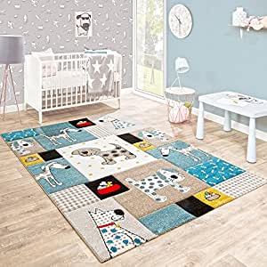Tappeto Per Bambini Camera Dei Bambini Taglio Sagomato Cani Mondo Beige Blu Colori Pastello, Dimensione:120x170 cm