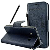 Fraelc® Galaxy J5 2016 Leather Case - [Don't Touch My Phone] PU Leather Wallet Flip Case Magnetic Leather Folio Book Cover [with Free Touch Pen] Leather Wallet Stand Cover for Samsung Galaxy J5 (SM-J510FN) 2016 Release, Black Bear