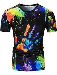 Blouse Homme, Xjp Modèle De Peinture à L'huile Imprimé Col Rond Manche Courte Décontractée T-shirt Pour Été Vacances
