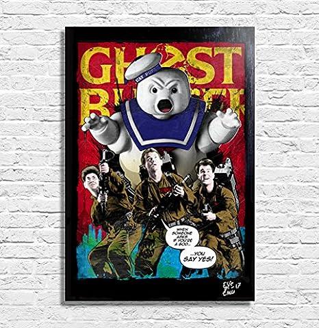 SOS Fantômes (Ghostbusters, 1984) - Illustration originale encadrée, peinture, presse artistique, poster, toile imprimée, art contemporain, image sur toile, affiche d'art, bandes dessinées, affiche de film, nerd, geek, 80 ans