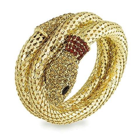 Bling Jewelry Flex Mesh Kristall Snake Armreif Wrap Armband Vergoldet