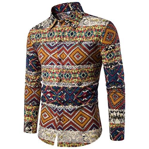 (Kobay-Herren Heiß Verkauf Casual Lange Ärmel Shirt Business Slim Fit Hemd Drucken Bluse Oberteil)