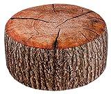 BRANDSSELLER, pouf sgabello per interni ed esterni gonfiabile–design a tronco d'albero –55x 25cm–colori: marrone, grigio