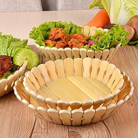 YUENLONG Il bambù cesto di frutta Frutta dadi della piastra a disco piatto di frutta (Tiered Circle)