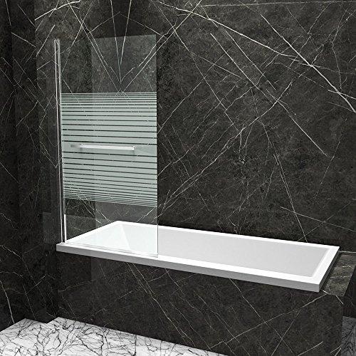 BxH: 80x140 cm Badewannenfaltwand Nassau02MS-WL aus 6mm ESG Sicherheitsglas in Klarglas mit Mittel-Streifen | inkl. NANO-Oberflächenversiegelung | Wandanschlag: links | Zur Montage auf dem Badewannenrand | Badewannenaufsatz