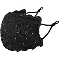 eBoutik – Elegant Lace with Pearls Face Mask - Fashion Mouth Covering - Reusable Breathable Washable (Black)