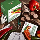Red Hot Chilli & Sweet Pepper Seed Growing Kit Gift Box by Thompson & Morgan, 5 Palatable Peppers to Grow; Jalapeño M,Thai Hot Chilli, Numex Twilight, Sweet Pepper Summer Salad & Sweet Pepper Boneta