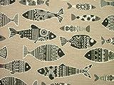 1Meter schwarz skandinavischen Fisch Natur Leinenoptik