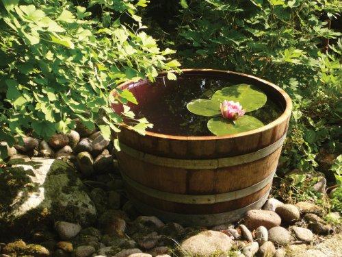 floristikvergleich.de Holzfass Weinfass halbiert aus Eichen-Holz als Pflanzkübel oder Miniteich (Durchmesser 70cm)