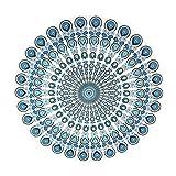 JUNGEN Telo Mare Rotondo Tondo arazzo Mandala Coperta da Spiaggia Elegante Protezione Solare Scialle Tappetino da Yoga Avvolgente (Verde)