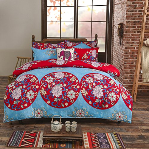 Boho Betten Set, Stillshine modernes elegantes 4 Stück Bohemian Exotic Style Lightweight Microfiber Bettwäsche-Set Bettwäsche Set, Queen Size, 200x230CM, Style #12 (Gedruckte Bett-set)