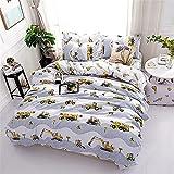DOTBUY Bettbezug Set, 3 Stück Super Weiche und Angenehme Mikrofaser Einfache Bettwäsche Set Gemütlich Enthalten Bettbezug & Kissenbezug Betten Schlafzimmer (135x200cm, Bagger)
