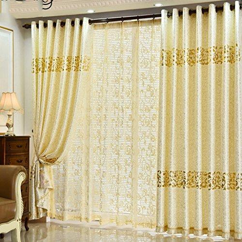 Met Love Veloursleder Gold Farbe voller Schatten Bodenvorhänge Schlafzimmer Vorhänge Blackout Ready Made Öse Blackout Vorhänge für Wohnzimmer mit zwei passenden Tie Rücken 2 Panels ( größe : 1.5*2.7m ) (Schlafzimmer Vorhänge Blackout)