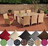 CLP Polyrattan-Sitzgruppe AVIGNON BIG | Garten-Set mit 8 Sitzplätzen | Komplett-Set bestehend aus: 1x Tisch und 8 Gartenstühlen inklusive Sitzauflagen | In verschiedenen Farben erhältlich Rattanfarbe: Sand, Bezugfarbe: Rubinrot