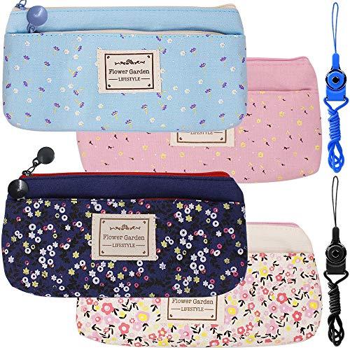 Creme-kamera-tasche (4 Pack Blumen Blumensegeltuch Kugelschreiber Bleistifttaschen Taschen, FineGood Schreibwaren Beutelhalter mit doppelten Reißverschlüssen für Schulstudenten Kinder - Dunkelblau, Hellblau, Rosa, Sahne)
