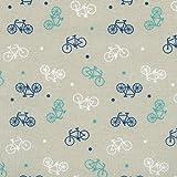 Baumwollstoff | Mehrfarbige Fahrräder - blau, grün und