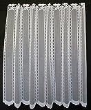 Schlichte Scheibengardine mit Blume 120 cm hoch | Breite der Gardine durch gekaufte Menge in 14 cm Schritten wählbar (Anfertigung nach Maß) | Weiß | Vorhang Küche Wohnzimmer