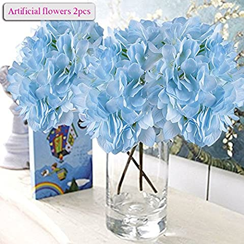 Artificial Flowers, Meiwo 2pcs Artificial Hydrangea Flowers, Full Bloom Artificial Silk Real Touch Flowers for Home Decor, Wedding, Parties, Offices,