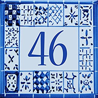 Azul'Decor35 Number customizable tiled House - Choose your number and the size of your street sign!