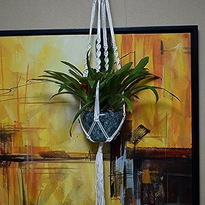 Justmysport Betriebsaufhänger Makramee Pflanze Indoor Outdoor Dekorative Aufhänger 4 Beine hängenden Seil mit Perlen für Raum Garten Blumentöpfe , ca.1 Meter Länge aus Nylon (Weiß) von Justmysport bei Du und dein Garten