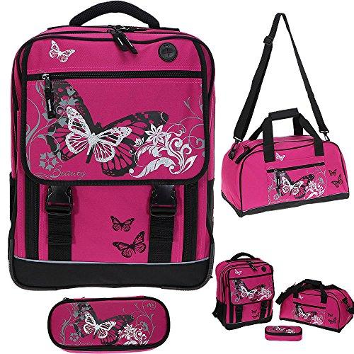 FABRIZIO Butterfly Beauty Schulrucksack 3er SET: Sporttasche + Mäppchen MAGENTA - 2
