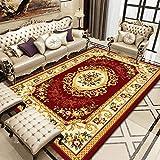 LZHDAR European Modern Living Room Rug, Floral Muster Polyester RechteckTeppichboden Nicht flammbar robuste Schmutzbeständige Badezimmertüre-Böden Tische,Red,140×200cm