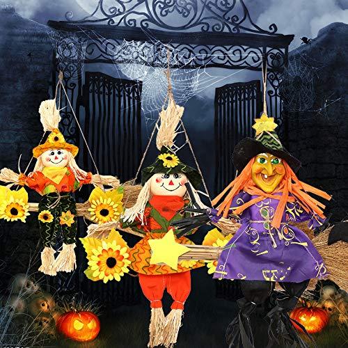 MSSJ 4 Stücke Halloween Hängen Besen Vogelscheuche Mädchen Hexe Bar Ktv Dekoration Geburtstag Urlaub Atmosphäre Nette Requisiten (Lego Rock Monster Kostüm)