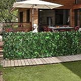 Jago Siepe edera artificiale sintetica finta frangivista per balcone, giardino, terrazzo (100 cm)