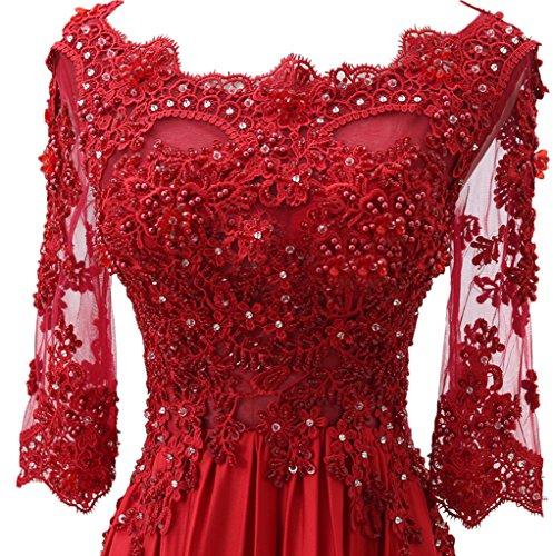 ivyd ressing Donna romantica con maniche pizzo lungo sera abiti abito del partito Prom Dress abito Fest Violett