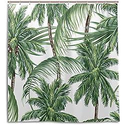 jstel Decor Duschvorhang Palmen Tropische Blätter Muster Print 100% Polyester Stoff 167,6x 182,9cm für Home Badezimmer Deko Dusche Bad Vorhänge mit Kunststoff Haken
