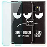 Saxonia Tasche + Panzerfolie Samsung Galaxy S7 Edge Hülle Flip Case Schutzhülle Handytasche Wallet mit Kartenfach/Standfunktion Motiv Dont Touch My Phone