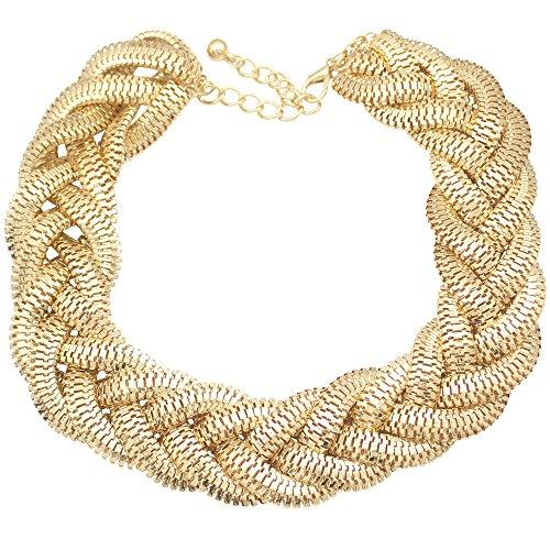 Q & q moda vintage Oro egipcia Cleopatra estilo audaz declaración babero collar estilo Art Nouveau, estilo Art Deco, Fancy vestido estilo trenzado de cadena de serpiente, kitsch y así sucesivamente es para ocasiones como partido, desfile de moda,...