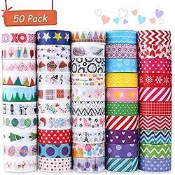 Washi Tape, Buluri 50 rouleaux Washi Masking Tape Adhésif Ruban adhésif pour Scrapbooking Artisanat de bricolage (washi tape)