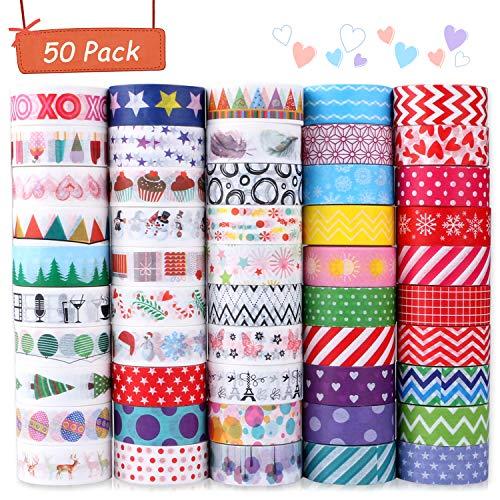 Buluri Washi Tape,50 Rolls Washi Masking Tape Dekorative Klebeband für Scrapbooking DIY Handwerk - Deko-tape