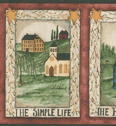 Bordure Papier Peint Scènes Country Folk Art (Border Scena)