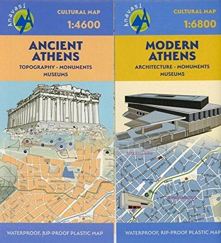 Athen Akropolis (Stadtplan Ancient Athens / Modern Athens 1:4600: 3-D Darstellung Ancient Athen historische Stadtmauer, Akropolis, Agora, Byzantinische Kirchen 4,6T.)