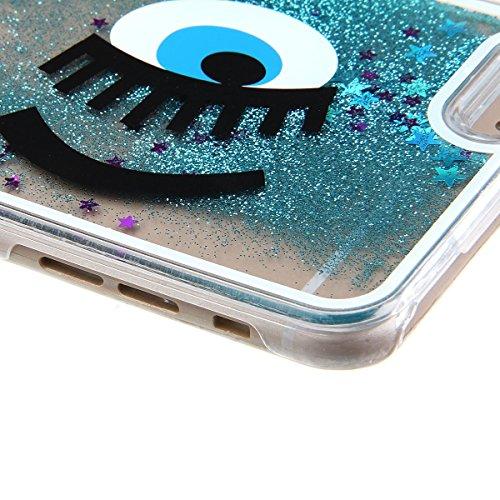 Voguecase® für Apple iPhone 5C , Flüssig Fließende Sparkly Bling Glitzer Stern Treibsand Star Quicksand (Harte Rückseite) Hybrid Hülle Schutzhülle Case Cover (Silber/Löwenzahn) + Gratis Universal Eing Silber/Wimpern