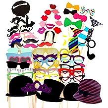 Foonii 63pcs photo booth props Accessori fai da te colorati occhiali baffi labbra farfallino cappelli su bastoni per matrimonio partito Natale compleanno