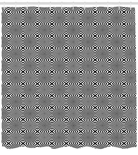 on Shower Curtain, Op Art Pattern Monochrome Graphic Composition Striped Ornamental, Cloth Fabric Bathroom Decor Set with Hooks, 66x72 inches, Black and White ()