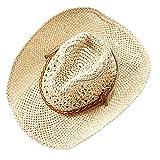 iKulilky Herren Damen Sommer Hut Handarbeit Hohl Western Cowboyhüte Stroh