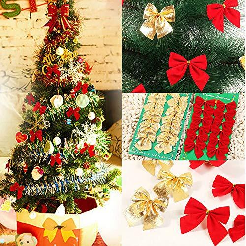 Frashing 24 Stück Weihnachtsbaum DekorationSchleife Weihnachtsbaum Schleifen Weihnachten Deko Ziehschleifen für Neujahr Weihnachtsbaum Gold Rot Silber, 7cmx6cm (Strümpfe Und Weihnachten Rot Gold)